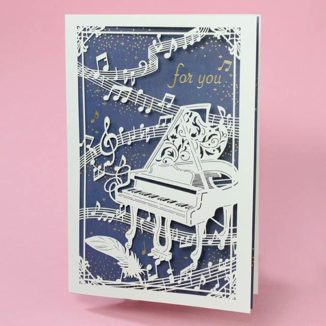多目的カード グランドピアノ 切り絵 音楽雑貨