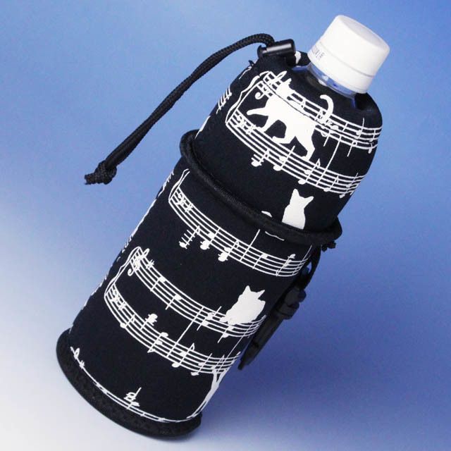 ペットボトルカバー 楽譜 ネコ 音楽雑貨