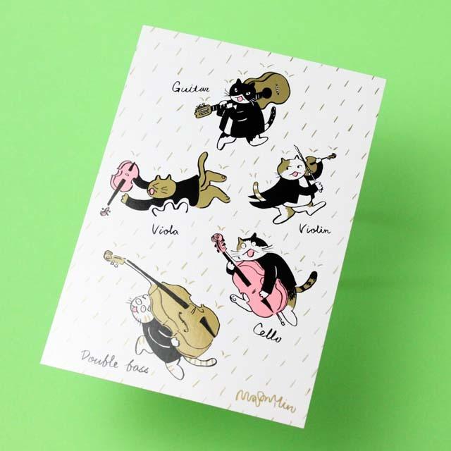 Classic Cat 絵葉書 ポストカード 春の雨 弦楽器 音楽雑貨 音楽グッズ