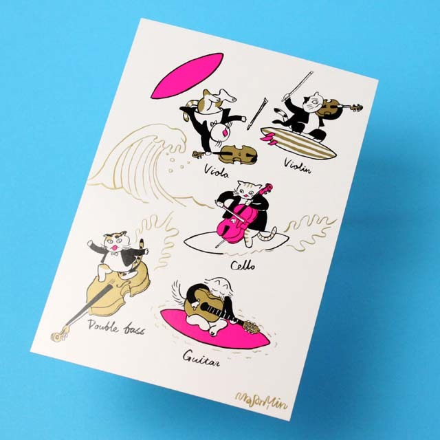 Classic Cat 絵葉書 ポストカード 夏の海 弦楽器 音楽雑貨 音楽グッズ