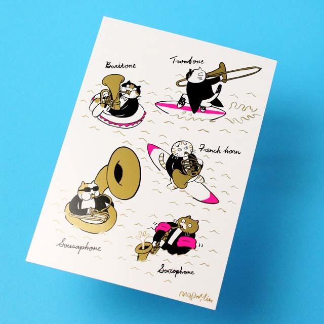 Classic Cat 絵葉書 ポストカード 夏の海 金管楽器 音楽雑貨 音楽グッズ