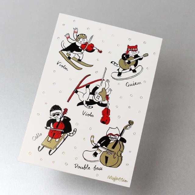 Classic Cat 絵葉書 ポストカード 雪の冬 弦楽器 音楽雑貨 音楽グッズ