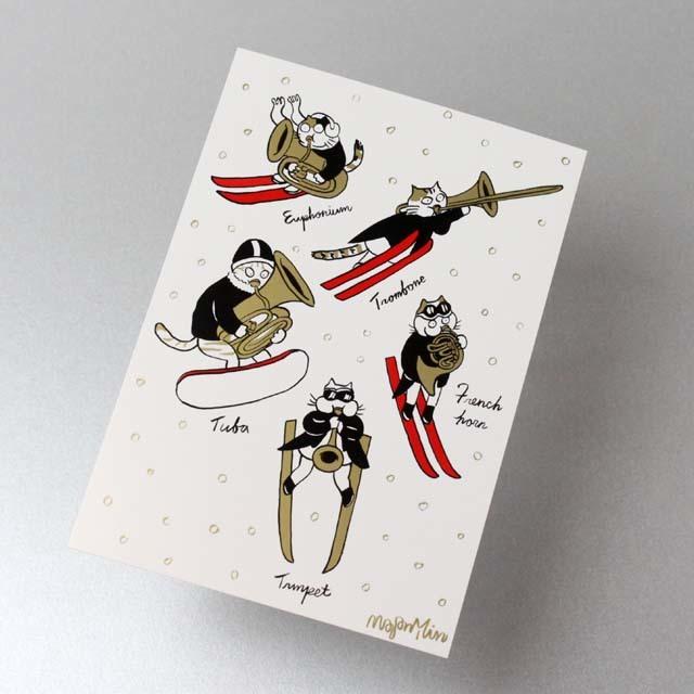 Classic Cat 絵葉書 ポストカード 雪の冬 金管楽器 音楽雑貨 音楽グッズ