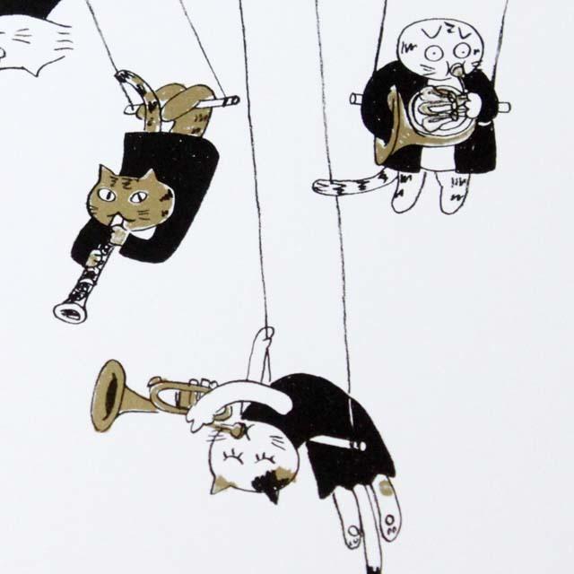 Musical Circus 8 ポストカード 空中ブランコ 音楽雑貨 音楽グッズ