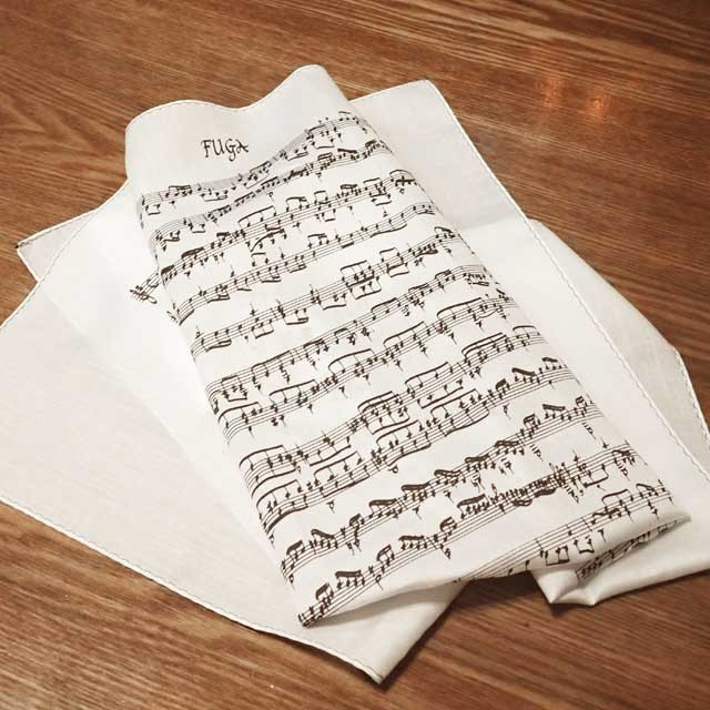 バッハ フーガ 手捺染 ハンカチ 音楽雑貨
