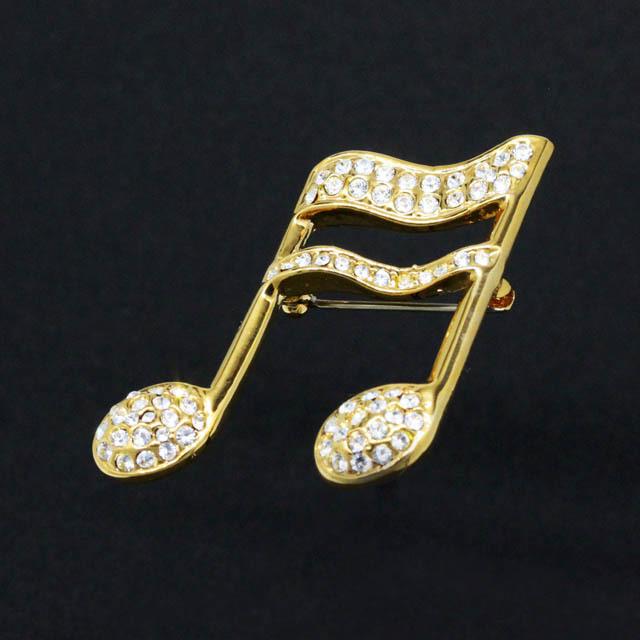グランデスピッラ ブローチ 2連16分音符 音楽雑貨 音楽アクセサリー