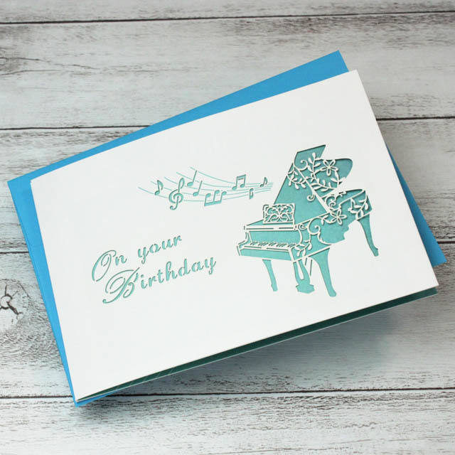 切り絵 グランドピアノ 誕生カード 音楽雑貨 音楽グッズ