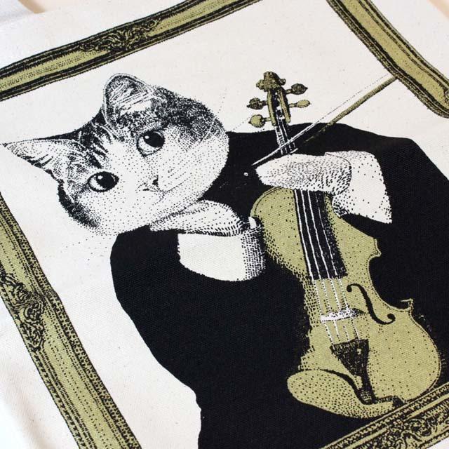 ヴァイオリン 厚手コットンキャンバス トート 音楽雑貨