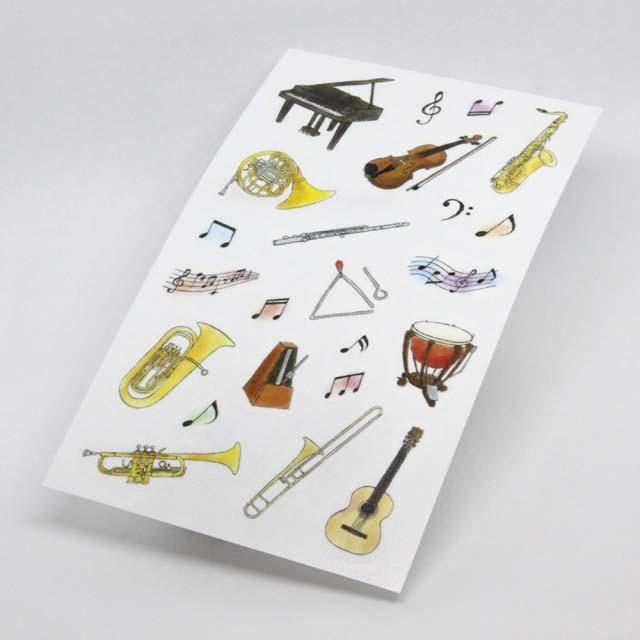 手帳に貼れるデコシール 楽器 音楽雑貨