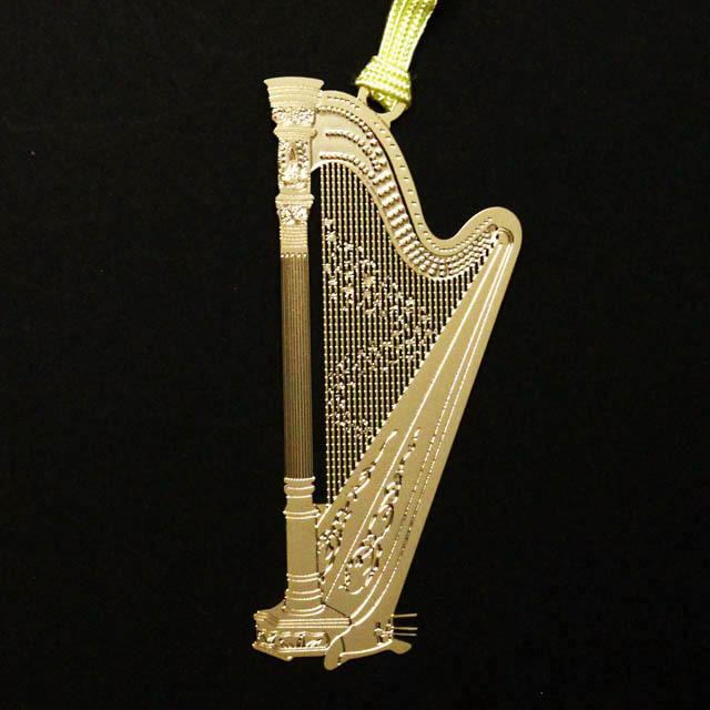 グランドハープ Harp きんのしおり 純金メッキ栞 音楽雑貨 音楽グッズ