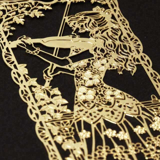 ヴァイオリンを奏でる少女 Violin きんのしおり 純金メッキ栞 音楽雑貨 音楽グッズ