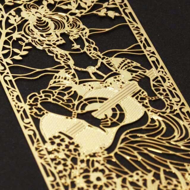 ギターを奏でる少女 Guitar きんのしおり 純金メッキ栞 音楽雑貨 音楽グッズ