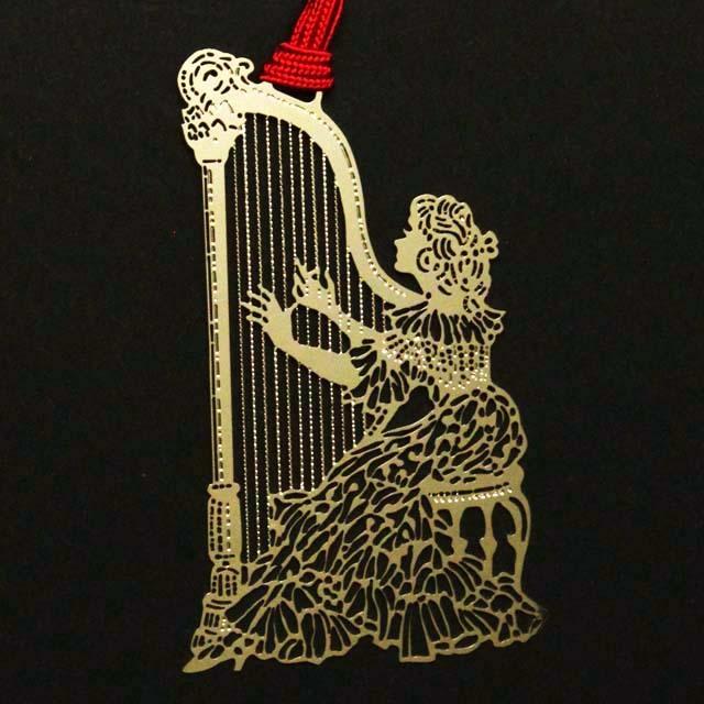 ハープを奏でる少女 harp きんのしおり 純金メッキ栞 音楽雑貨 音楽グッズ