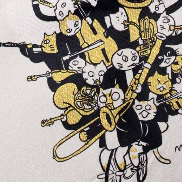 コットンキャンバス・トート 《音楽自転車ネコ》