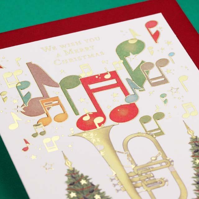 クリスマスカード ツリー フリューゲルフォン 音楽雑貨