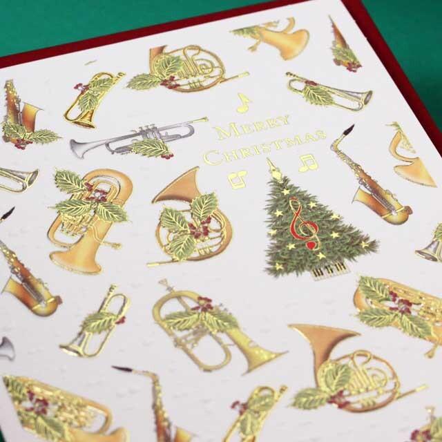 クリスマスカード ツリー トランペット ホルン アルトサックス フリューゲルフォン 音楽雑貨