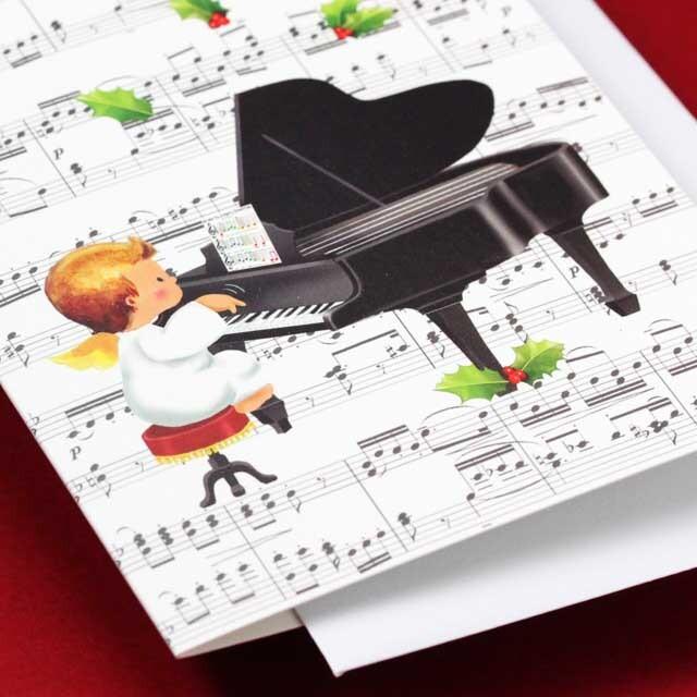 クリスマスカード グランドピアノ 天使 音楽雑貨