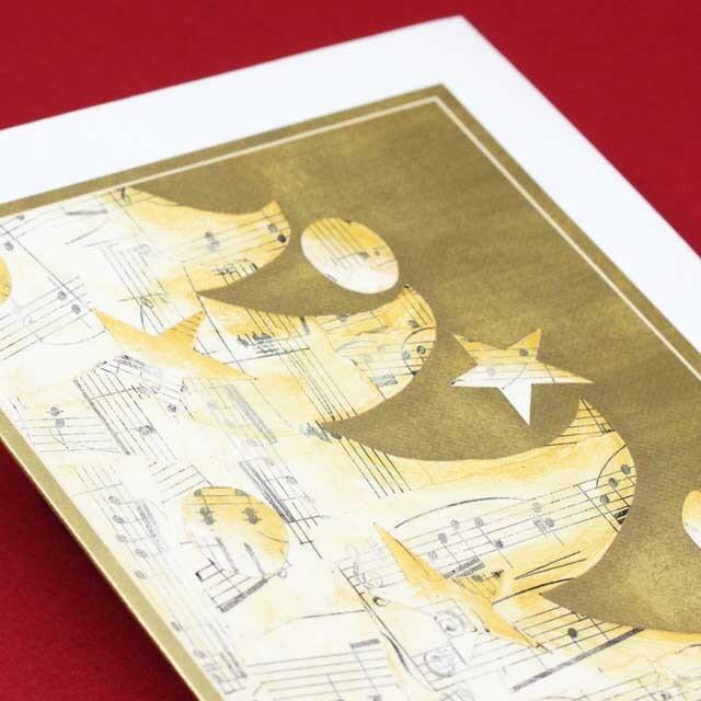 クリスマスカード 楽譜 ツリー 音楽雑貨