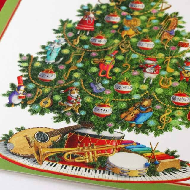 クリスマスカード ツリー マンドリン タンバリン トランペット  音楽雑貨