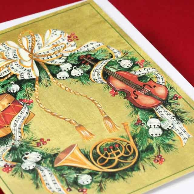 クリスマスカード リース ヴァイオリン ドラム ホルン  音楽雑貨