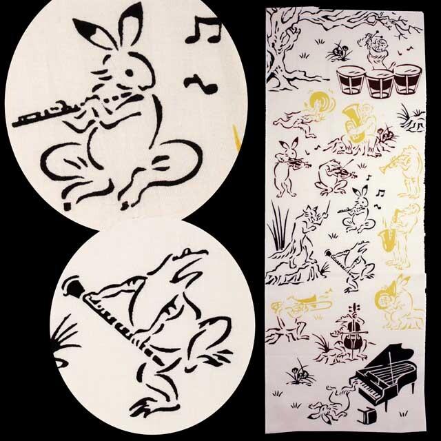 注染 手ぬぐい 鳥獣戯画 オーケストラ 管弦楽団 音楽雑貨