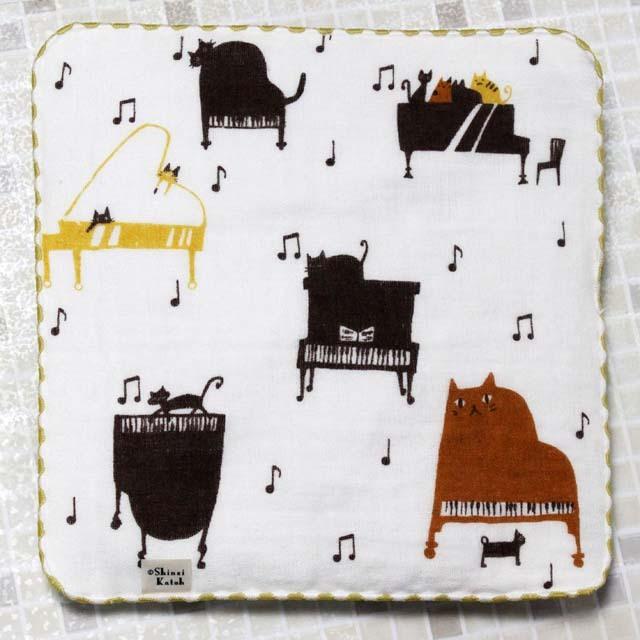 猫 ネコ ピアノ ShinziKatoh タオルハンカチ 音楽雑貨 音楽小物
