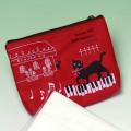 ポケットティッシュケース ネコ ピアノ鍵盤 音楽雑貨 音楽グッズ 音楽小物