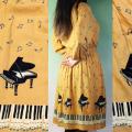 グランドピアノ 鍵盤 ワンピース レーヨン 音楽雑貨 音楽グッズ