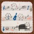 音楽雑貨 タオルハンカチ ShinziKatoh パイル シャーリング加工 楽器 ピアノ ヴァイオリン ホルン