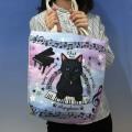 Cat Symphonica 鍵盤を弾く黒猫 トートバッグ 音楽雑貨