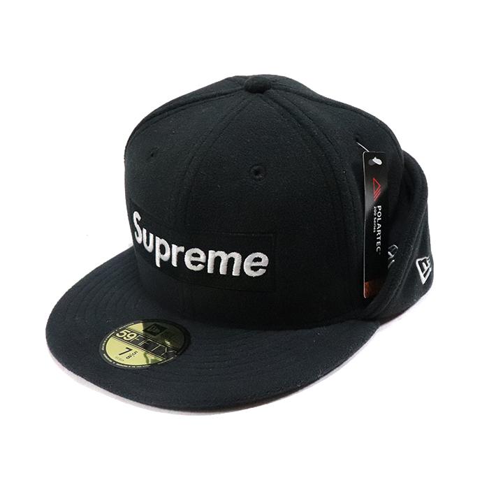 正規品 2017AW SUPREME Polartec Ear Flap New Era Box Logo CAP 7 5/8 Black 新品未使用品 [ シュプリーム ポーラーテック イヤーフラップ ニューエラ ボックスロゴ キャップ ブラック 黒 ]