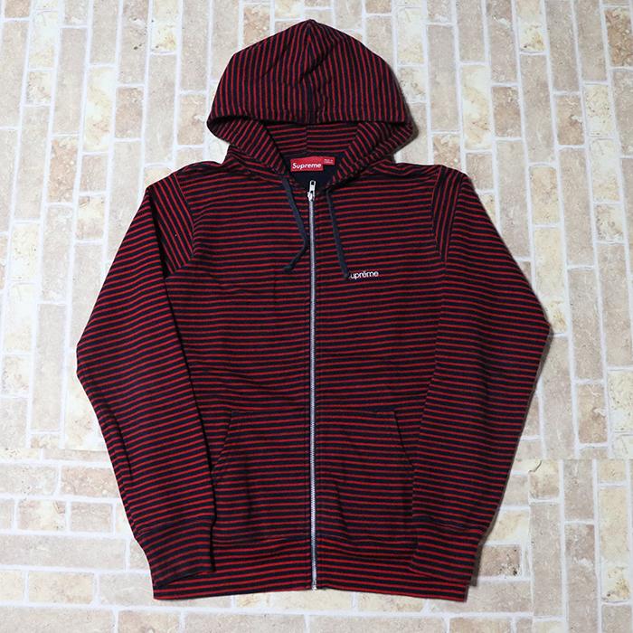 正規品 Supreme Border Zip Up Hooded Sweatshirt Red 美中古品 [ シュプリーム ボーダー ジップアップ フーデッド スウェットシャツ パーカー レッド 赤 ]