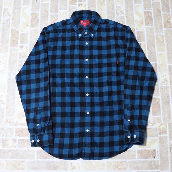 正規品 Supreme Button Shirt Blue 美中古品 [ シュプリーム ボタンシャツ ブルー 青 ]