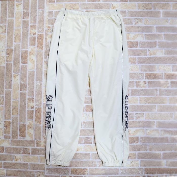 国内正規品 2017SS Supreme Striped Logo Warm Up Pant White 新品未使用品 [ シュプリーム ストライプ ロゴ ウォームアップ パンツ ホワイト 白 ]