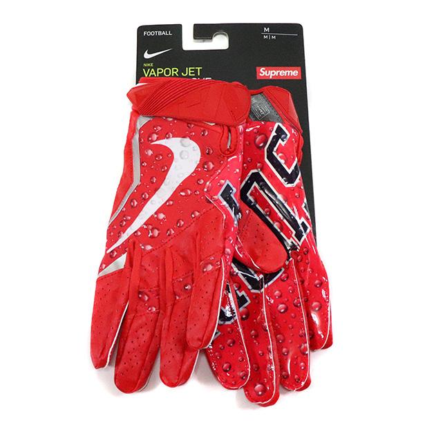 正規品 2018AW Supreme x NIKE Vapor Jet Football Glove Red 新品未使用品 [ シュプリーム ナイキ ヴェイパー ジェット フットボール グローブ レッド 赤 ]