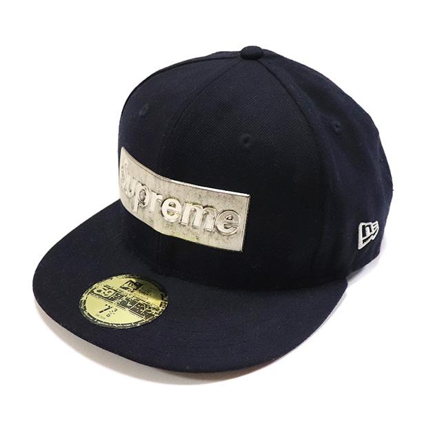 国内正規品 2016SS Supreme x New Era Metallic Box Logo Cap Navy 中古品 [ シュプリーム ニューエラ メタリック ボックス ロゴ キャップ ネイビー 紺 ]