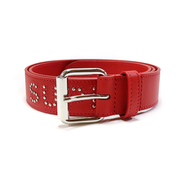d0cadb8bf5f2 国内正規品 2018SS Supreme Studded Logo Belt Red 新品未使用品
