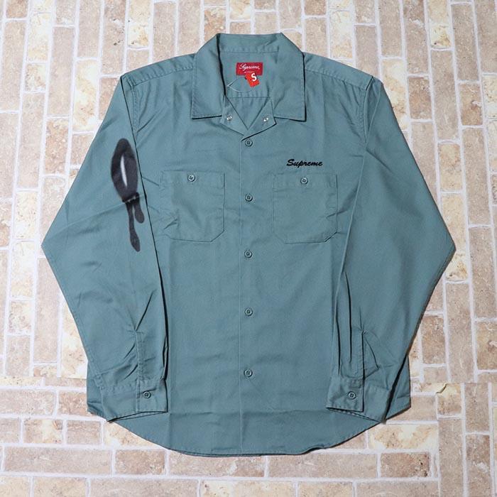 国内正規品 2018AW Supreme Rose L/S Work Shirt Dusty Green 新品未使用品 [ シュプリーム ローズ ロングスリーブ ワーク シャツ グリーン 緑 ]