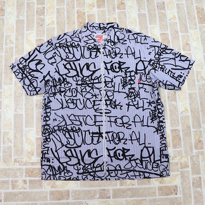 国内正規品 2018AW Supreme × Comme des Garcons Cotton Graphic S/S Shirt Blue Stripe 新品未使用品 [ シュプリーム コムデギャルソン コットン グラフィック シャツ ブルー 青 ]