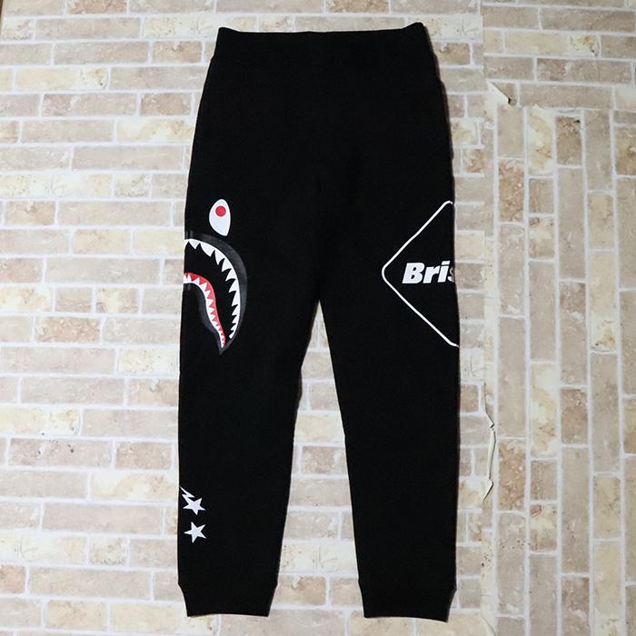 国内正規品 2019SS A BATHING APE BAPE × F.C. Real Bristol SHARK SWEAT PANTS BLACK 新品未使用品 [ ベイシングエイプ ベイプ F.C.R.B. シャーク スウェットパンツ FCRB 黒 ]