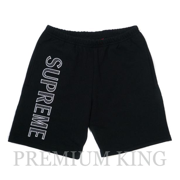 国内正規品 2018SS Supreme Leg Embroidery Sweatshort Black 新品未使用品 [ シュプリーム レグ エンブロイダリー ショーツ ブラック ]