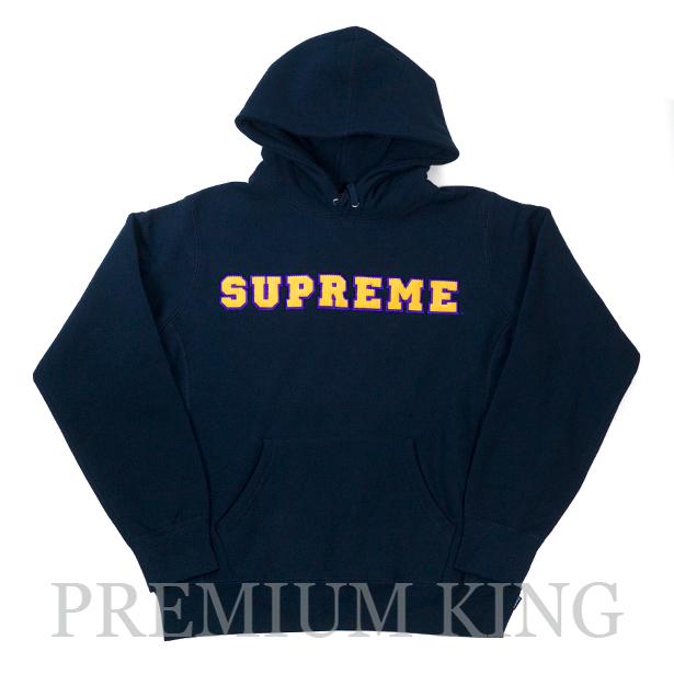 国内正規品 2018SS Supreme Cord Collegiate Logo Hooded Sweatshirt Navy 新品未使用品 [ シュプリーム コード カレッジ ロゴ フーデッド スウェット フーディー パーカー ネイビー 紺 ]