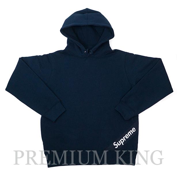 国内正規品 2018SS Supreme Corner Label Hooded Sweatshirt Navy 新品未使用品 [ シュプリーム コーナー ラベル フーディー パーカー ネイビー 紺 ]