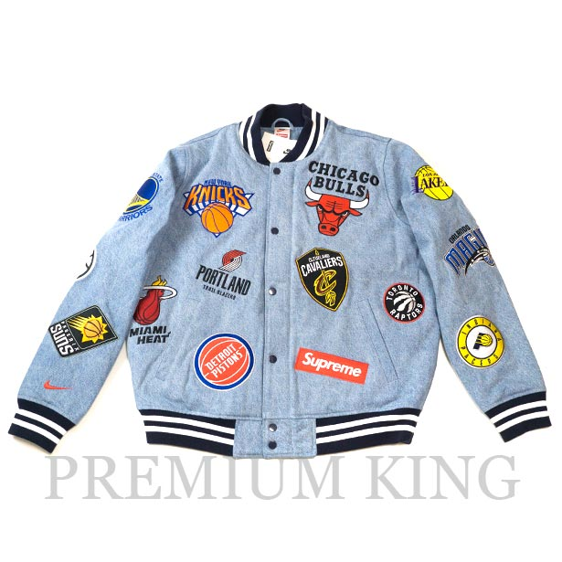 国内正規品 2018SS Supreme/Nike/NBA Denim Warm-Up Jacket Light Blue 新品未使用品 [ シュプリーム ナイキ エヌビーエー デニム ウォーム ジャケット ライトブルー 青 AO3632-440 ]
