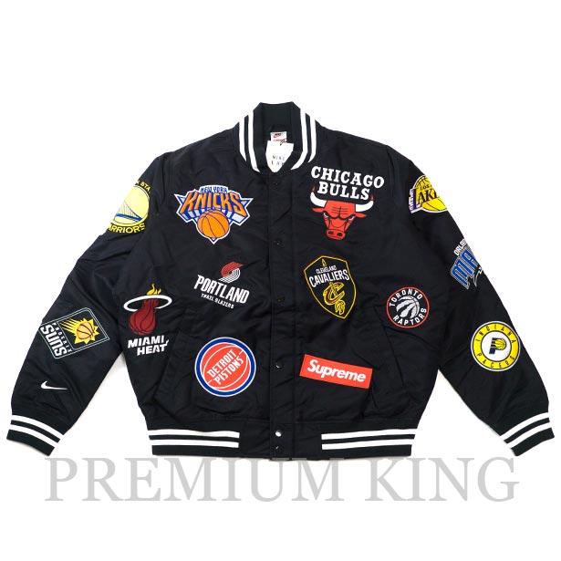 国内正規品 2018SS Supreme/Nike/NBA Satin Warm-Up Jacket Black 新品未使用品 [ シュプリーム ナイキ エヌビーエー サテン ウォーム ジャケット ブラック 黒 AO3631-010 ]