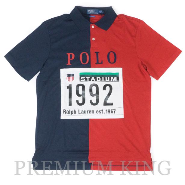 国内正規品 Ralph Lauren Polo Stadium 1992 Collection Polo Cotton Navy Red [25周年記念 ラルフローレン ポロシャツ メッシュ ネイビー マルチ ]