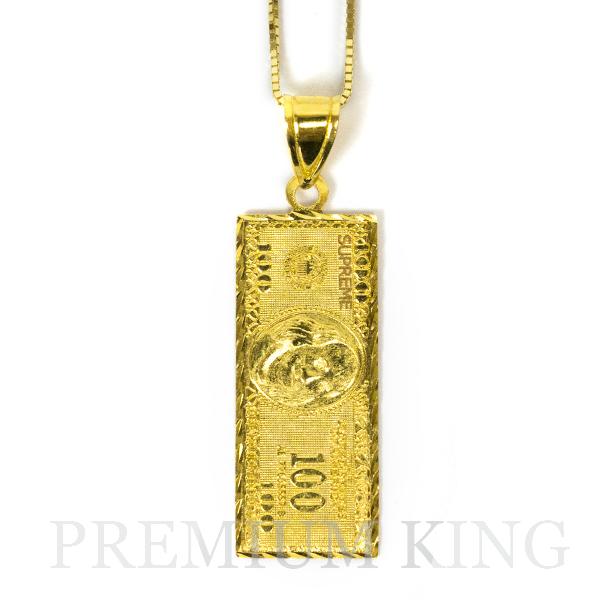 国内正規品 2017AW Supreme 100 Dollar Bill Gold pendant 新品未使用 [シュプリーム ゴールド ネックレス 14K ペンダント]