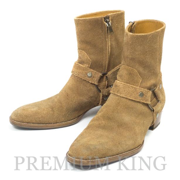 国内正規品 2015AW SAINT LAURENT PARIS Suede SideZip Ring Boots 美中古品 [サンローラン パリ スエード サイドジップ リングブーツ 379755 BPN00 5710 ]