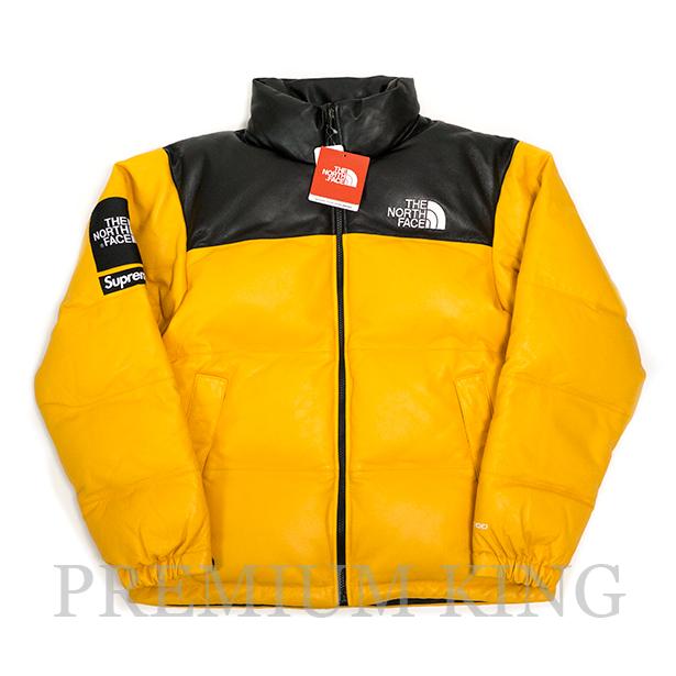 国内正規品 2017FW SUPREME × THE NORTH FACE Leather Nuptse Jacket Yellow 新品未使用品 [ シュプリーム ノースフェイス レザー ヌプシジャケット イエロー 黄 ]