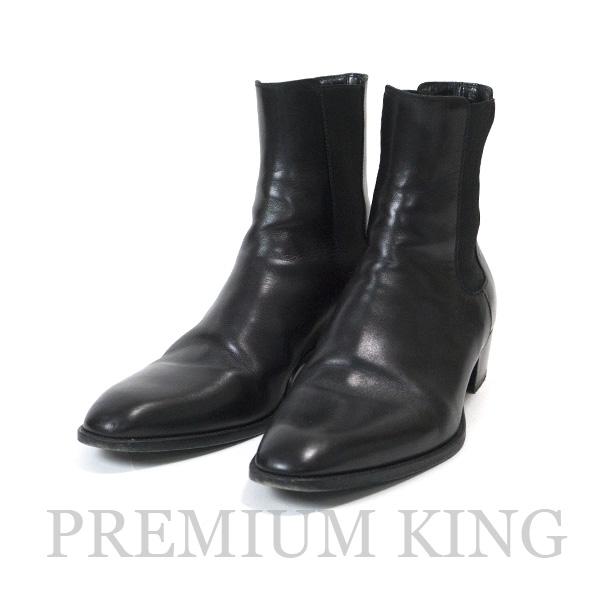 国内正規品 2014 SAINT LAURENT PARIS 40Mm Wyatt Leather Chelsea Cropped Boots Black 美中古品 [サンローラン パリ ワイアット40 レザー チェルシー クロップド ブーツ ブラック 黒 379757 AQS00 1000 ]